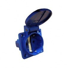 Гнездо врезное ГВ 16А/2 (220В) 2P+PE (312) (синий) (АСКО)