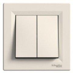 Выключатель 2-клавишный Schneider Electric Asfora, кремовый