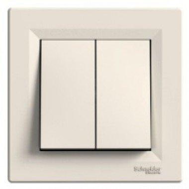 Выключатель 2-клавишный Schneider Electric Asfora, кремовый - описание, характеристики, отзывы