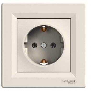 Розетка с заземлением Schneider Electric Asfora, кремовый - описание, характеристики, отзывы