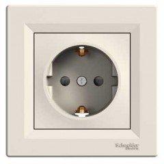 Розетка с заземлением и защитными шторками Schneider Electric Asfora, кремовый