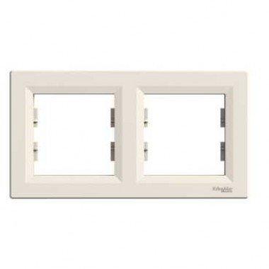 Рамка 2-постовая горизонтальная Schneider Electric Asfora, кремовый - описание, характеристики, отзывы