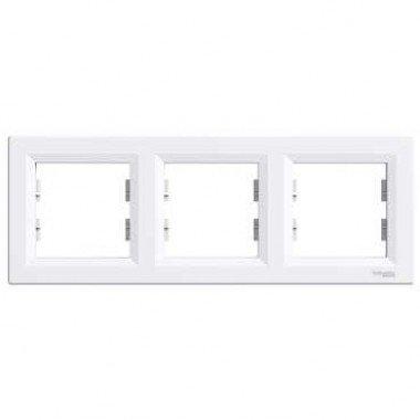 Рамка 3-постовая горизонтальная Schneider Electric Asfora, белый - описание, характеристики, отзывы