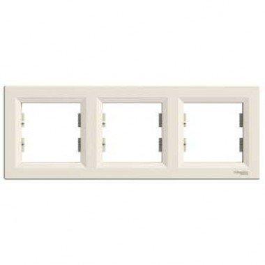 Рамка 3-постовая горизонтальная Schneider Electric Asfora, кремовый - описание, характеристики, отзывы