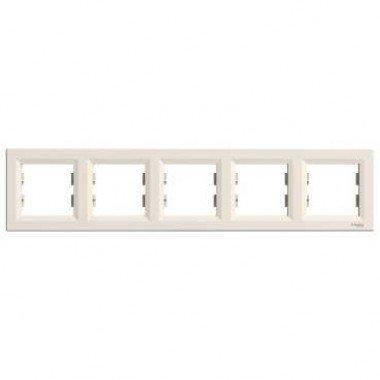 Рамка 5-постовая горизонтальная Schneider Electric Asfora, кремовый - описание, характеристики, отзывы
