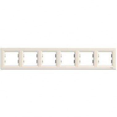Рамка 6-постовая горизонтальная Schneider Electric Asfora, кремовая - описание, характеристики, отзывы