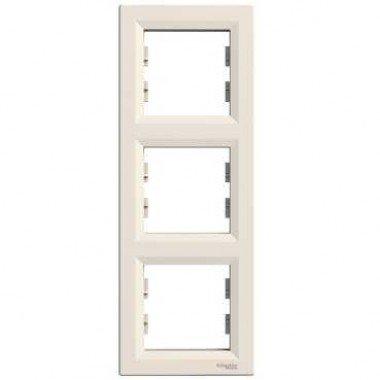 Рамка 3-постовая вертикальная Schneider Electric Asfora, кремовый - описание, характеристики, отзывы