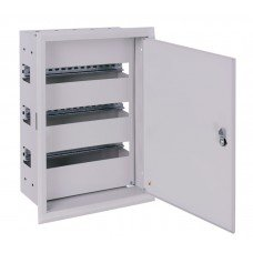 Шкаф металлический e.mbox.pro.w.54z IP31 встраиваемый на 54 модуля с замком, e.next