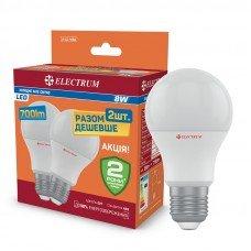 Лампа  светодиодная A55 8W Е27 4000 упаковка 2 шт ELECTRUM