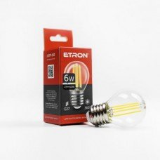 Лампа 1-EFP-150 G45 E27 6W 4200K clear glass  FILAMENT   ETRON