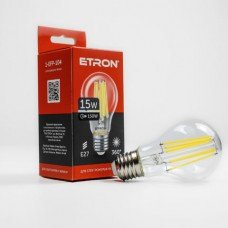 Лампа 1-EFP-104 A60 15W 4200K E27 clear glass FILAMENT ETRON