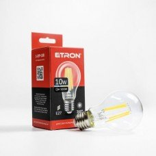 Лампа 1-EFP-108 A60 10W 4200K E27 clear glass   FILAMENT  ETRON