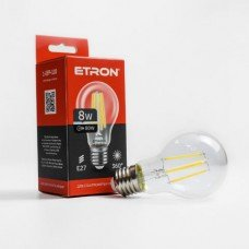 Лампа 1-EFP-110 A60 8W 4200K E27 clear glass   FILAMENT  ETRON