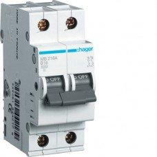 Автоматический выключатель Hager 2п, In=16 А, В, 6 kA