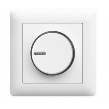 Светорегулятор поворотный Lumina, белый, 60-600Вт, Hager - описание, характеристики, отзывы