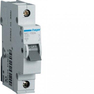 Автоматический выключатель MC120A (1р,С,20А) Hager - описание, характеристики, отзывы
