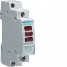 Индикатор тройной LED, 230В, 3 красных, 1м Hager