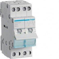 Переключатель І-О-ІІ с общим выходом снизу,  2- полюсный, Hager 25А/230 В, 2м