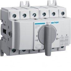 Переключатель модульный трехпозиционный I-0-II до 35мм2, 3п 63А, Hager