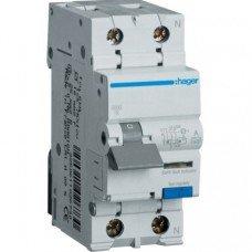 Дифференциальный автоматический выключатель Hager 1+N, 10A, 30 mA, B, 6 КА, A