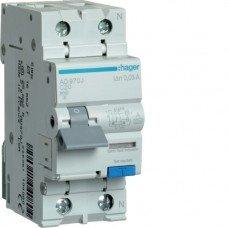 Дифференциальный автоматический выключатель Hager 1+N, 20A, 30 mA, С, 6 КА, A, 2м