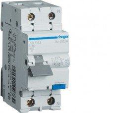Дифференциальный автоматический выключатель 1+N, 10A, 30 mA, С, 6 КА, A, 2м, Hager