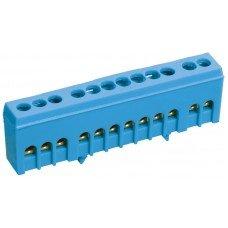 """Шина N """"ноль"""" в корпусном изоляторе на DIN-рейку ШНИ-6х9-10-К-синий (ІЕК)"""