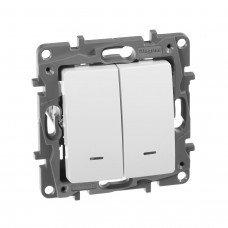 Выключатель / Переключатель 2-клавишный с подсветкой с автоматическими клеммами Белый ETIKA