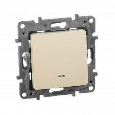 Выключатель / Переключатель с подсветкой с автоматическими клеммами Слоновая кость ETIKA