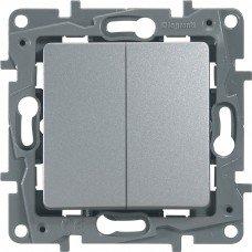 Выключатель / Переключатель 2-клавишный с автоматическими клеммами Алюминий ETIKA