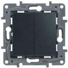 Выключатель / Переключатель 2-клавишный с автоматическими клеммами Антрацит ETIKA