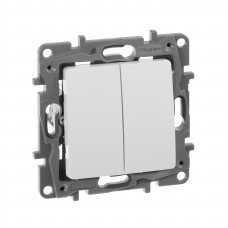 Выключатель / Переключатель 2-клавишный с автоматическими клеммами Белый ETIKA