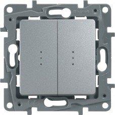 Выключатель / Переключатель 2-клавишный с подсветкой с автоматическими клеммами Алюминий ETIKA