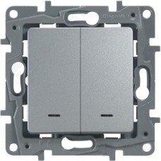 Выключатель 2-клавишный с подсветкой/индикацией, Алюминий ETIKA