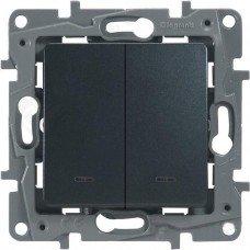 Выключатель 2-клавишный с подсветкой/индикацией, Антрацит ETIKA