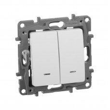 Выключатель 2-клавишный с подсветкой/индикацией, Белый ETIKA