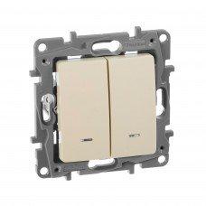 Выключатель 2-клавишный с подсветкой/индикацией, Слоновая кость ETIKA