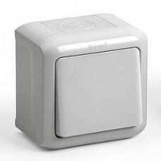 Выключатель 1-кл., IP44, 10А, наружного монтажа, Forix (серый)