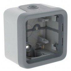 Plexo Коробка для накладного монтажа 1-постовая (в комплекте с сальниками) ІР55, ІК07, Серый