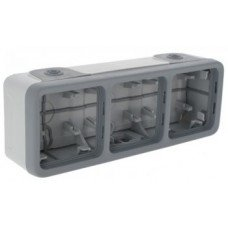 Plexo Коробка для накладного монтажа 3-постовая, горизонтальная (в комплекте с сальниками) ІР55, ІК07, Серый