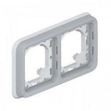 Plexo Рамка 2-постовая с суппортом, горизонтальная ІР55, ІК07, Серый