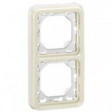 Plexo Рамка 2-постовая с суппортом, вертикальная, ІР55, ІК07, Белый