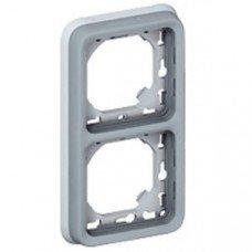 Plexo Рамка 2-постовая с суппортом, вертикальная, ІР55, ІК07, Серый