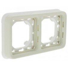 Plexo Рамка 2-постовая с суппортом, горизонтальная, ІР55, ІК07, Белый