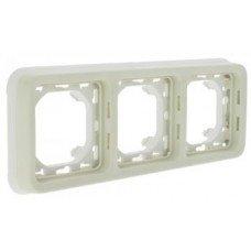 Plexo Рамка 3-постовая с суппортом, горизонтальная, ІР55, ІК07, Белый