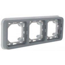 Plexo Рамка 3-постовая с суппортом, горизонтальная, ІР55, ІК07, Серый