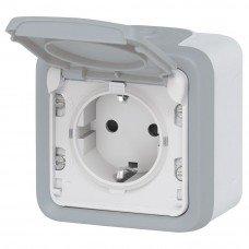 Plexo Розетка электрическая (накладная) 2К+З, 16А, ІР55, ІК07 с заземлением и крышкой, винтовые зажимы, Серый