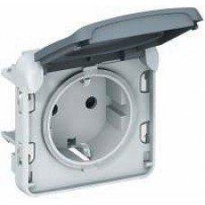 Plexo Розетка электрическая 16А, 2К+З, ІР55, ІК07 с крышкой, винтовые зажимы, Серый