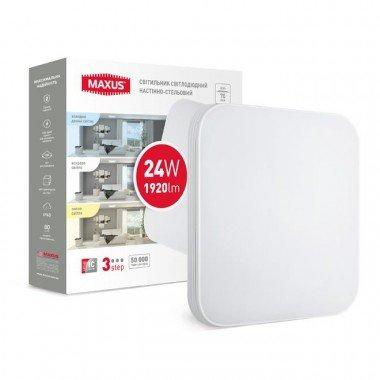 Светильник  MAXUS CL 3-step 24W 3000-6500K квадрат - описание, характеристики, отзывы