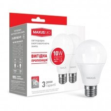 Лампа MAXUS  LED A60 10W 4100K 220V E27 AP (2 шт.)